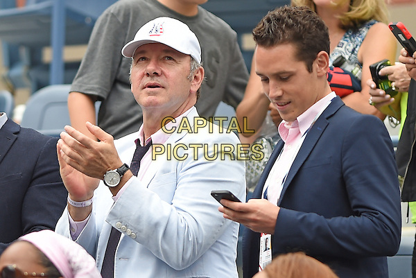 FLUSHING NY- AUGUST 30: Actor Kevin Spacey after Williams defeated Lepchenko in striaght sets at the 2014 US Open on August 30, 2014 in Flushing Queens. <br /> CAP/MPI/MPI04<br /> &copy;MPI04/MPI/Capital Pictures