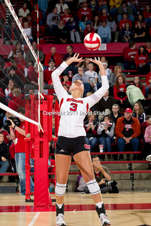 Wisconsin Badgers Courtney Thomas (3) during an NCAA women's college volleyball game against the Ohio State Buckeyes on November 4, 2011. The Buckeyes won 3-1. (Photo by David Stluka)