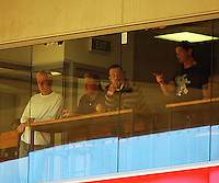 Black Caps coach Andy Moles (2nd left) and captain Daniel Vettori (2nd right) watch the match during the A-League match between Wellington Phoenix and Newcastle Jets at Westpac Stadium, Wellington, New Zealand on Sunday, 4 January 2009. Photo: Dave Lintott / lintottphoto.co.nz
