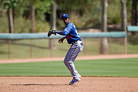 Los Angeles Dodgers shortstop Albert Suarez (85) at bat during an Instructional League game against the Chicago White Sox on September 30, 2017 at Camelback Ranch in Glendale, Arizona. (Zachary Lucy/Four Seam Images)