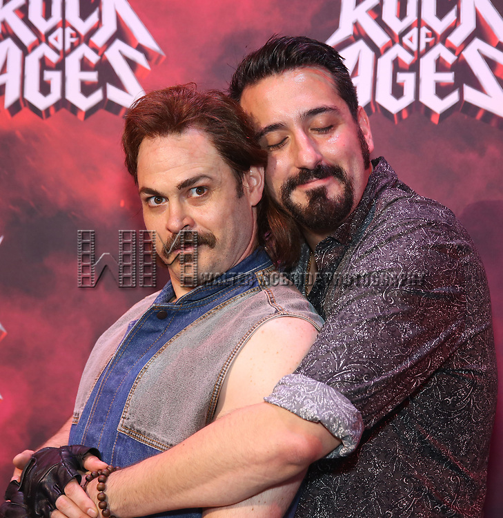"""Mitchell Jarvis and Matt Ban during the tech rehearsal for """"Rock of Ages"""" 10th Anniversary Production on June 13, 2019 at the New World Stages in New York City."""