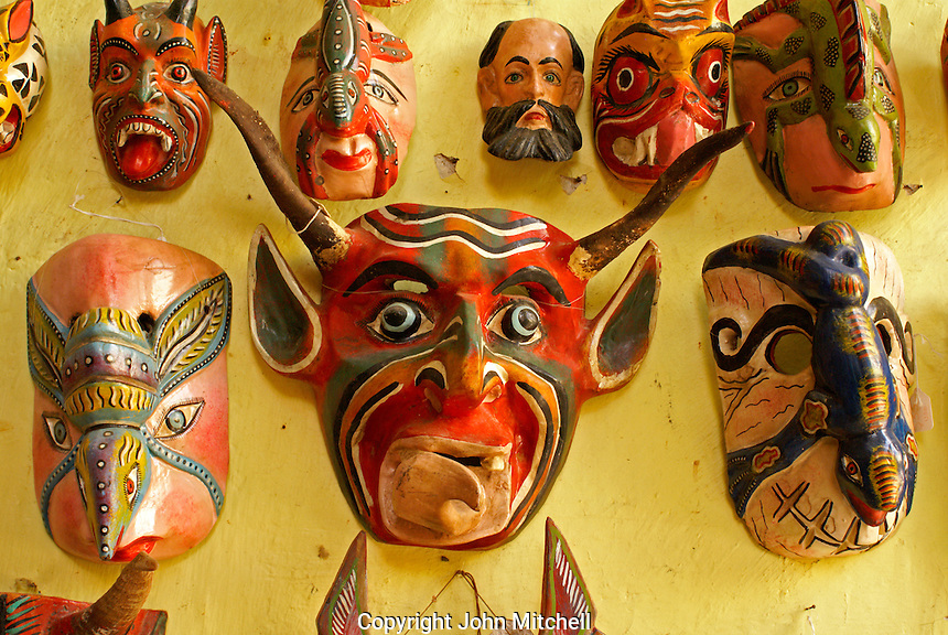 Mexican wooden ceremoniial masks for sale in San Miguel de Allende, Mexico