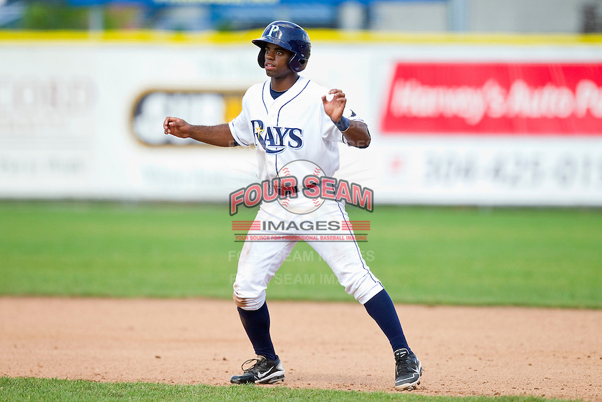 Andrew Toles (29) of the Princeton Rays takes his lead off of first base against the Burlington Royals at Hunnicutt Field on July 15, 2012 in Princeton, West Virginia.  The Rays defeated the Royals 3-1 in game two of a double header.  (Brian Westerholt/Four Seam Images)