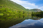 Crawford Notch State Park - Reflection of Mount Willard in Willey Pond at the Willey House Historical Site in the White Mountains, New Hampshire USA.