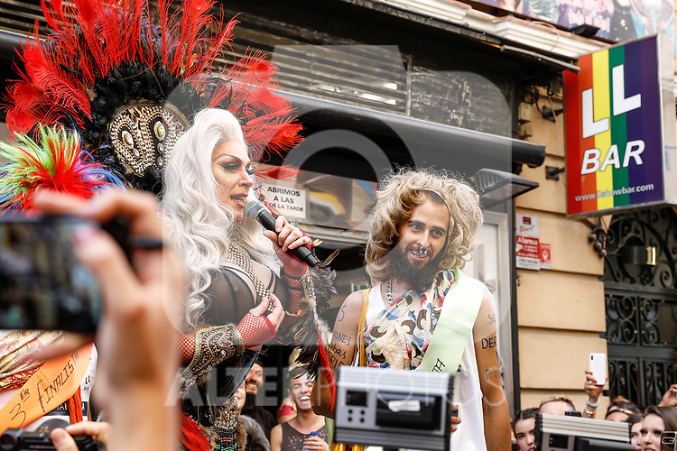 Second classified of the heels race of the lgtb pride party of Madrid and Drag queen Chumina Power. July 4, 2019. (ALTERPHOTOS/JOHANA HERNANDEZ)