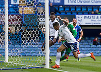 Paris Cowan-Hall of Wycombe Wanderers scores during the FA Cup 1st round match between Portsmouth and Wycombe Wanderers at Fratton Park, Portsmouth, England on the 5th November 2016. Photo by Liam McAvoy.