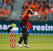 3rd February 2019, Optus Stadium, Perth, Australia; Australian Big Bash Cricket League, Perth Scorchers versus Melbourne Stars; Ashton Turner of the Perth Scorchers lets the ball go outside the off stump during his innings