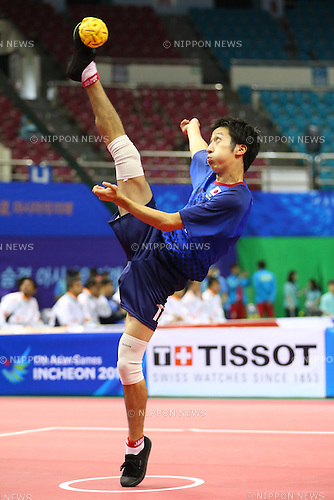 Masayuki Ishizuka (JPN),<br /> SEPTEMBER 25, 2014 - Sepak takraw : <br /> Men's Team Preliminary <br /> at Bucheon Gymnasium <br /> during the 2014 Incheon Asian Games in Incheon, South Korea. <br /> (Photo by Shingo Ito/AFLO SPORT)