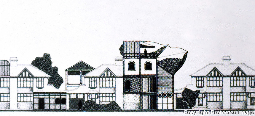 "Archigram:  ""Addhox""  1971, a suburban sequence.  Peter Cook.  Photo '77."