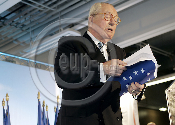 PARIS - FRANCE - 25 MAY 2005-- The French referendum on the EU-Constitution.-- No-campaign meeting of the far-right National Front party. Jean-Marie LE PEN speaking while holding the EU-Constitution book in his hands. -- PHOTO: JUHA ROININEN / EUP-IMAGES