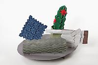 OrigamiUSA 2017 Holiday Tree at the American Museum of Natural History. Base 1 models:<br /> Blue tessellation: Designer &ndash; Shuzo Fujimoto, Folder - Edward Mistretta<br /> Gray Tessellation: Designer &ndash; Lumo Sato, Folder &ndash; Lumo Sato<br /> Cactus in a Pot: Designer &ndash; David Petty, Folder &ndash; Rosalind Joyce<br /> Cactus flower: Designer &ndash; traditional, Folder &ndash; Rosalind Joyce<br /> Look (Hand): Designer &ndash; Ogawa Tomo, Folder Michael Verry<br /> BandAid: Designer - Talo Kawasaki, Folder &ndash; Talo Kawasaki
