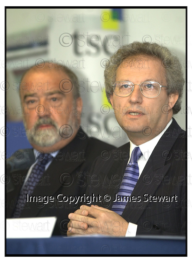 7th June 2000            Copyright Pic : James Stewart .Ref :                           .File Name : stewart02-tsc call centre                        .HENRY MCLEISH AND LENNIUW MOFFAT (left), MANAGING DIRECTOR OF TSC, AT THE LAUNCH OF THE NEW CALL CENTRE IN FALKIRK.....Payments to :-.James Stewart Photo Agency, Stewart House, Stewart Road, Falkirk. FK2 7AS      Vat Reg No. 607 6932 25.Office : 01324 630007        Mobile : 0421 416997.E-mail : jim@jspa.co.uk.           : jim@jamesstewart.co.uk.If you require further information then contact Jim Stewart on any of the numbers above.........