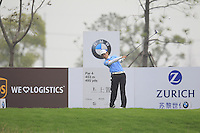 Ouyang Zheng (CHN) tees off the 5th tee during Saturay's Round 3 of the 2014 BMW Masters held at Lake Malaren, Shanghai, China. 1st November 2014.<br /> Picture: Eoin Clarke www.golffile.ie