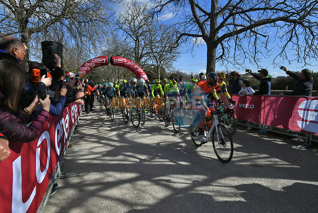 The start of Strade Bianche 2019 running 184km from Siena to Siena, held over the white gravel roads of Tuscany, Italy. 9th March 2019.<br /> Picture: LaPresse/Gian Matteo D'Alberto | Cyclefile<br /> <br /> <br /> All photos usage must carry mandatory copyright credit (© Cyclefile | LaPresse/Gian Matteo D'Alberto)