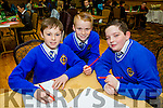 Michael Forest David Callaghan  Lorcan Crawford from CBS primary Tralee at the Credit Union Primary schools  Table Quiz in Brandon Hotel on Sunday