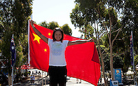 Na Li poses with the Chinese flag in Melbourne Park..International Tennis - Australian Open  -  Melbourne Park - Melbourne - Day 12 - Fri 28th January 2011..© Frey - AMN Images, Level 1, Barry House, 20-22 Worple Road, London, SW19 4DH.Tel - +44 208 947 0100.Email - Mfrey@advantagemedianet.com.Web - www.amnimages.photshelter.com