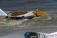Reuben Stafford (#5) has fliped in turn 2 when the boat came apart. (SST-120 class)
