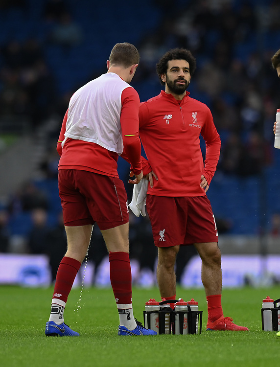 Liverpool's Mohamed Salah during the prematch warmup<br /> <br /> Photographer David Horton/CameraSport<br /> <br /> The Premier League - Brighton and Hove Albion v Liverpool - Saturday 12th January 2019 - The Amex Stadium - Brighton<br /> <br /> World Copyright © 2018 CameraSport. All rights reserved. 43 Linden Ave. Countesthorpe. Leicester. England. LE8 5PG - Tel: +44 (0) 116 277 4147 - admin@camerasport.com - www.camerasport.com