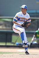 Max Schuh #45 of the UCLA Bruins pitches against the Oregon Ducks at Jackie Robinson Stadium on May 18, 2014 in Los Angeles, California. Oregon defeated UCLA, 5-4. (Larry Goren/Four Seam Images)