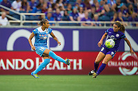 Orlando, FL - Saturday July 16, 2016: Samantha Johnson, Maddy Evans during a regular season National Women's Soccer League (NWSL) match between the Orlando Pride and the Chicago Red Stars at Camping World Stadium.