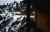 D&amp;SNG Cascade Winter train in Animas Canyon as view from the front portion of the train.<br /> D&amp;S  Animas Canyon, CO
