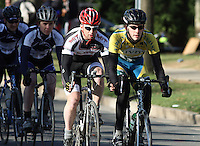 Vermont's Jeff Meyer-Lorentson and MIT's Arthur Anderson lead the pack during the Men's D Criterium race at the Nittany Cycling Classic hosted by Penn State Cycling in State College, Pa., on April 20, 2014. Photo/©2014 Craig Houtz