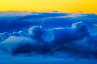 plume from the Halemaumau crater eruption at sunrise, viewed from the 6000' elevation of Mauna Loa road, Kilauea volcano summit,, Hawaii Volcanoes National Park, Big Island, Hawaii, USA, Pacific Ocean