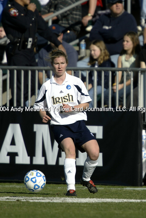 05 December 2004: Lizzie Reed. Notre Dame defeated UCLA 4-3 on penalty kicks after the game ended in a 1-1 overtime tie at SAS Stadium in Cary, NC in the championship match in the 2004 NCAA Division I Women's College Cup..