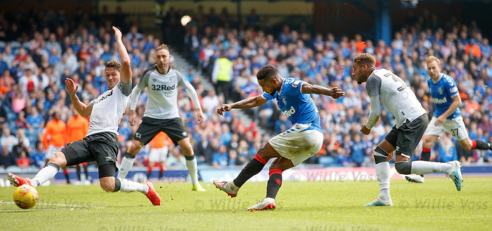 28.07.2019 Rangers v Derby County: Jermain Defoe shoots and is saved
