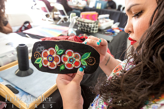 Adaka Cultural Festival 2016, Whitehorse, Yukon, Canada, Yukon First Nation Culture and Tourism Association, Kwanlin Dun Cultural Centre, Heather Dickson, beadwork