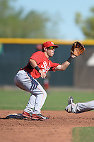 Cincinnati Reds second baseman Shane Mardirosian (41) during an Instructional League game against the Texas Rangers on October 3, 2014 at Surprise Stadium Training Complex in Surprise, Arizona.  (Mike Janes/Four Seam Images)