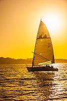 Sailing on Monterey Bay at sunset, Monterey, Monterey County, California USA