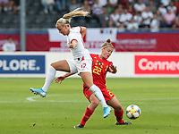 20190829 - LEUVEN , BELGIUM : England's Beth Mead (right) and Belgium's Laure Deloose (left) are pictured during the female soccer game between the Belgian Red Flames and England , The Lionesses , a friendly womensoccer game in the preparation for the European Championship qualification round in group H for England 2021, Tuesday 29 th August 2019 at the King Power Stadion Den Dreef in Leuven , Belgium. PHOTO SPORTPIX.BE | SEVIL OKTEM