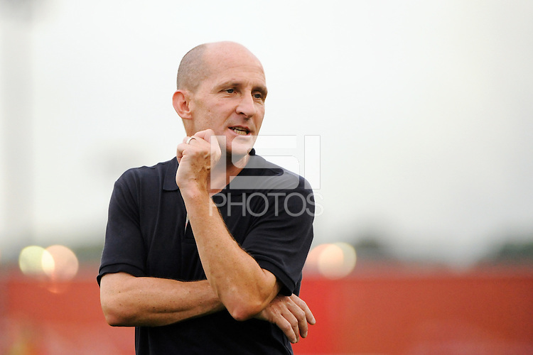 Philadelphia Independence head coach Paul Riley. Sky Blue FC defeated the Philadelphia Independence 1-0 during a Women's Professional Soccer (WPS) match at Yurcak Field in Piscataway, NJ, on August 22, 2010.