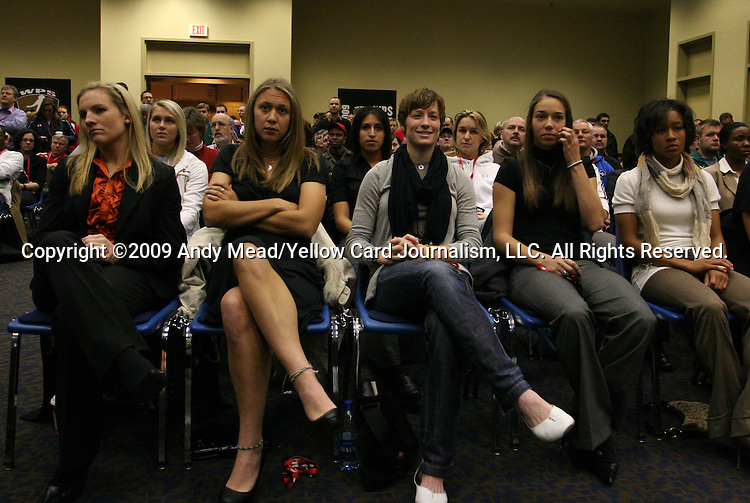 16 January 2009: Players waiting for the draft. From left: Amy Rodriguez, Nikki Krzysik, Megan Rapinoe, Kerry Hanks, Ameera Abdullah. The 2009 inaugural Womens Pro Soccer (WPS) Draft was held at the Convention Center in St. Louis, Missouri in conjuction with the National Soccer Coaches Association of America's annual convention.