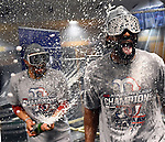HOUSTON, TX. - OCTOBER 18: Members of the Boston Red Sox celebrate after winning Major League Baseball's American League Championship Series against the Houston Astros at Minute Maid Park in Houston, Texas on October 18, 2018. (Staff photo by Christopher Evans)