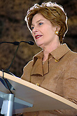 United States first lady Laura Bush speaks to about 400 American High School students at General H.H. Arnold High School in Wiesbaden, Germany on February 22, 2005.  In her remarks, Mrs. Bush stressed the importance of education.<br /> Mandatory Credit: Jennifer McFadden / US Army via CNP