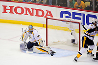 May 31, 2017: Nashville Predators goalie Pekka Rinne (35) makes a save during game two of the National Hockey League Stanley Cup Finals between the Nashville Predators  and the Pittsburgh Penguins, held at PPG Paints Arena, in Pittsburgh, PA. The Penguins defeat the Predators 4-1 and lead the series 2-0. Eric Canha/CSM