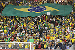 06 June 2008: Brazil fans unfurl a giant flag. The Venezuela Men's National Team defeated the Brazil Men's National Team 2-0 at Gillette Stadium in Foxboro, Massachusetts in an international friendly soccer match.
