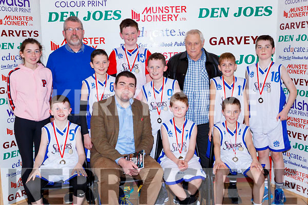 Minister Brendan Griffin presents the medals to  Holy Family NS 5th Rathmore team after played in the Senior NS A final at the St Marys Basketball Blitz on Saturday front row l-r: David Darmody, Ross Moriarty, Sean McAulliffe. Back row: Mary anne Fleming, Diarmuid McCarthy Principal, Conor Moynihan, Michael Togher, John Hughes, Sean Fleming, Shane Daly, Padraig Moynihan