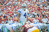 Dallas Cowboys quarterback Dak Prescott (4) looks over the defense during first quarter action against the Washington Redskins at FedEx Field in Landover, Maryland on Sunday, September 18, 2016.<br /> Credit: Ron Sachs / CNP