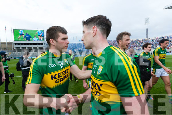 Kevin McCarthy and Paul Geaney Kerry players celebrate after defeating Dublin at the National League Final in Croke Park on Sunday.