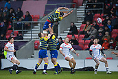 9th December 2017, AJ Bell Stadium, Salford, England; European Rugby Challenge Cup, Sale Sharks versus Cardiff Blues; Cardiff Blues' George Earle misses the ball