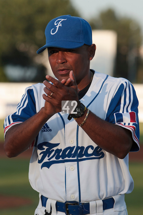 21 August 2010: Gerardo Leroux of Team France is seen prior to Russia 13-1 win in 7 innings over France, at the 2010 European Championship, under 21, in Brno, Czech Republic.