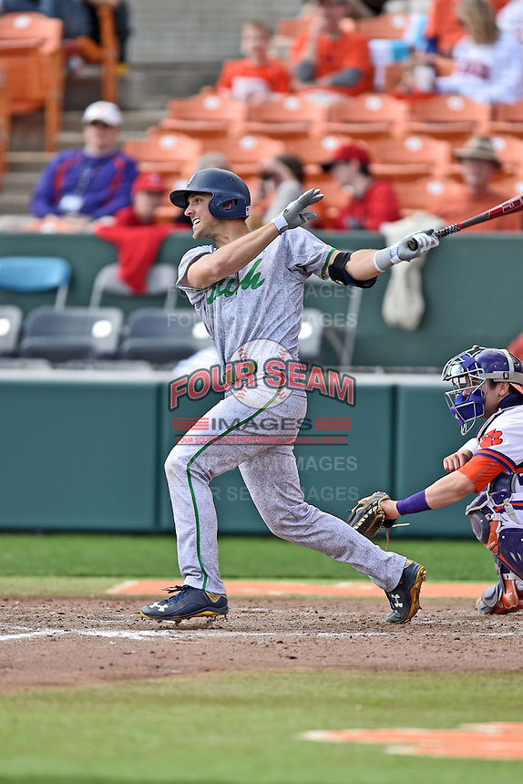 Notre Dame Fighting Irish pinch hitter Phil Mosey (33) swings at a pitch during a game against the Clemson Tigers during game one of a double headers at Doug Kingsmore Stadium March 14, 2015 in Clemson, South Carolina. The Tigers defeated the Fighting Irish 6-1. (Tony Farlow/Four Seam Images)