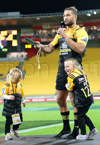 09.04.2016. Wellington, New Zealand.  Hurricanes' Cory Jane holds aloft his Mere, awarded for 100 matches for the Hurricanes during the Round 7 Super Rugby match, Hurricanes  versus Jaguares at Westpac Stadium, Wellington. 9th April 2016.