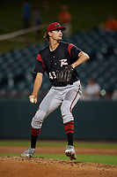 Richmond Flying Squirrels starting pitcher Sean Hjelle (43) during an Eastern League game against the Bowie Baysox on August 15, 2019 at Prince George's Stadium in Bowie, Maryland.  Bowie defeated Richmond 4-3.  (Mike Janes/Four Seam Images)