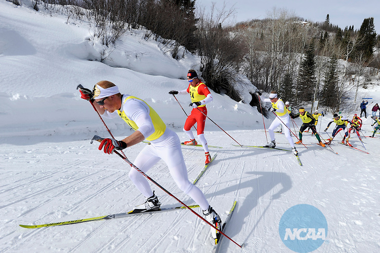 13 MAR 2010: Matt Gelso (4) of the University of Colorado leads the means field up a climb in the Men's Cross Country Freestyle during the Division I Men's and Women's Skiing Championship held at Howelsen Hill in Steamboat Springs, CO. Gelso finished third. Brett Wilhelm/NCAA Photos