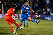 12th January 2018, Estadio Coliseum Alfonso Perez, Getafe, Spain; La Liga football, Getafe versus Malaga; Juan Cala (Getafe CF) tries to block as Malaga clear their line and the ball upfield
