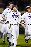 Matt Curry (17) celebrates 10th inning win April 27th, 2010; NCAA Baseball action, Baylor University Bears vs TCU Horned Frogs at Lupton Stadium in Fort Worth, Tx;  TCU won 5-4 in extra innings.